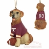 Virginia Tech Golden Retriever Dog Ornament