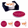 Virginia Tech Round Absorbent Coasters with Caddy