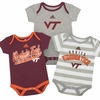 Virginia Tech Vintage Print Baby Bodysuit 3-pack