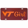 Virginia Tech Girl Laser License Plate