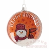 VT Glass Disc Snowman Ornament