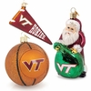 VT Pennant, Basketball, and Santa Ornament Set