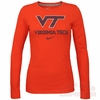 Womens Orange Virginia Tech Nike Long Sleeved Logo Tee