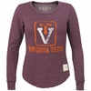 Womens Retro Virginia Tech Raw Edge Scoop Fleece
