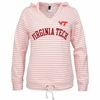 Womens Virginia Tech Coral Stripe Hoodie