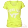 Womens Virginia Tech Electric Neon V-Neck Tee