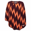Womens Virginia Tech Zig-Zag Peruvian Knit Poncho