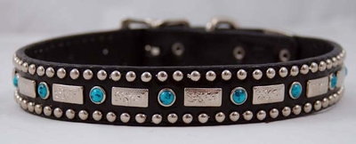 Black Leather Dog Collar with Square Conchos & Blue Crystals