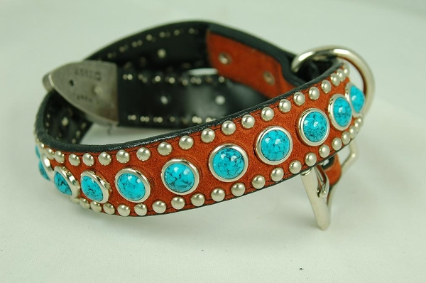 Brown Leather Dog Collar with Turquoise Rounds