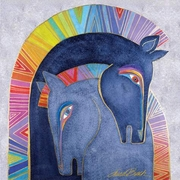 Embracing Horses Canvas Wall Art by Laurel Burch