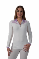 Kastel Charlotte Embroidered Sun Shirt - Grey with purple