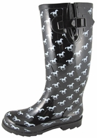Ladies Black and White Horse Print Welly