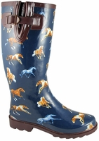 Ladies Navy Horse Welly Rubber Boots