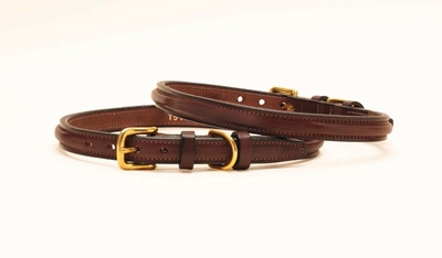 Tory Leather Deluxe Line Narrow Raised Leather Dog Collar