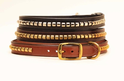Tory Leather Dog Collar with Metal Clinchers