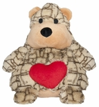Swirl Bear Dog Toy with Heart - 8 inch