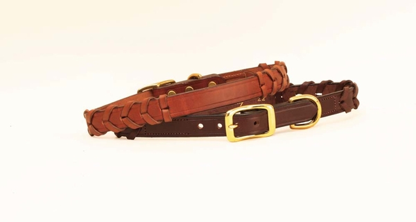 Tory Leather Laced Rein Leather Dog Collar