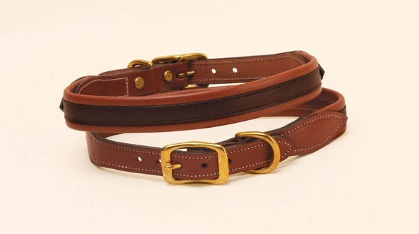Tory Leather Soft Padded Leather Dog Collar with Overlay