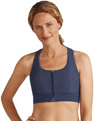 Amoena Front Zipper Medium Support Soft Cup Pocketed Bra 44179 - Indigo