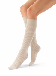 Jobst Women's SoSoft Ribbed Closed Toe Support Knee High Sock (8-15 mmHg)