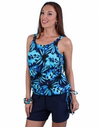 Jodee Blue Maze Pocketed Blouson Top, Misses (Style 2052)