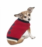 Fashion Pet Embroidered Color Block Turtleneck Dog Sweater, X-Small, Red