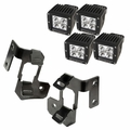 A-Pillar Light Mount Kit, Semi-Gloss Black, Cube LED, 07-17 Wrangler by Rugged Ridge