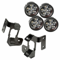 A-Pillar Light Mount Kit, Semi-Gloss Black, Round LED, 07-17 Wrangler by Rugged Ridge