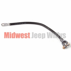"Battery ground cable, top mount, black, 17"" long, 1-gauge wire, 1945-1971 Willys Pickup, Station Wagon and Jeep CJ models"