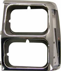 Bezel, Headlamp, Left, Black/Chrome- Wagoneer (dual) 1984-90 Cherokee XJ