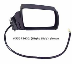 Electric Remote Mirror, Left (Chrome) Jeep Cherokee (1984-1996); Left side Chrome w/ Foldaway; Non-Export.