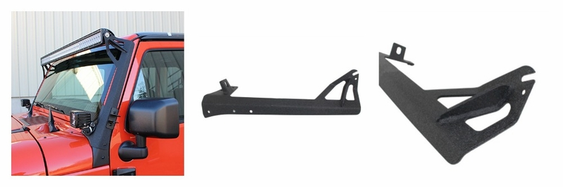 "Fishbone Offroad 52"" Light Bar Bracket, Fits 2007 to 2017 JK Wrangler, Rubicon and Unlimited"