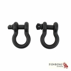 """Fishbone Offroad Black 3/4"""" D-Ring Set for Universal Jeep Applications"""