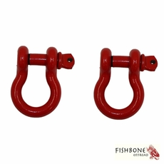 """Fishbone Offroad Red 3/4"""" D-Ring Set for Universal Jeep Applications"""