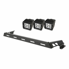 Hood Light Bar Kit, Textured Black, 3 Square LEDs, 07-17 Jeep Wrangler JK by Rugged Ridge