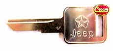 Ignition Key Blank, fits Ignition Cylinder for 1976-86 CJ, fits Door Cylinder for 1976-84 CJ, fits 1987-90 Wrangler YJ, 1981-91 Jeep SJ & J-Series, 1984-90 Cherokee XJ