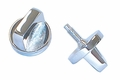 Interior Windshield Knob Set, Chrome, 76-86 Jeep CJ Models by Rugged Ridge