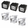 Large X-Clamp and Cube LED Light Kit, Silver, 3-Pieces by Rugged Ridge