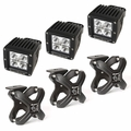 Large X-Clamp and Cube LED Light Kit, Textured Black, 3-Piece by Rugged Ridge