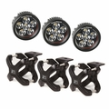 Large X-Clamp and Round LED Kit, 3 Pieces, Black by Rugged Ridge