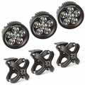 Large X-Clamp and Round LED Kit, Textured Black, 3-Piece by Rugged Ridge