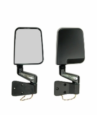 Door Mirror Kit, LED Turn Signals, Black, 87-02 Jeep Wrangler by Rugged Ridge