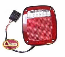 Left Side Tail Light, Black, w/ license lamp, fits 1991-95 Jeep Wrangler YJ, 1997 Wrangler TJ