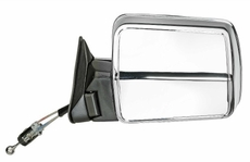 Manual Remote Mirror, Left (Chrome) Jeep Cherokee (1984-1996); Left side Chrome w/ Foldaway; Non-Export.