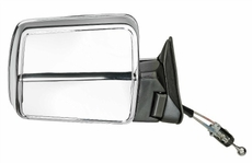 Manual Remote Mirror, Right (Chrome) Jeep Cherokee (1984-1996); Right side Chrome w/ Foldaway; Non-Export.