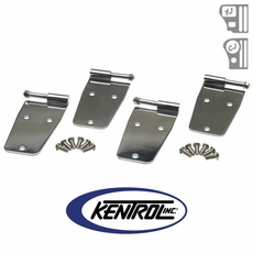 Polished Stainless Steel Hardtop Door Hinge Set w/o mirror holes, 4 pieces, fits 1955-1993 Jeep CJ & YJ Wrangler by Kentrol