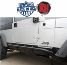 Rock Hard 4x4 Patriot Series Rocker Guards w/ Tube Sliders, Black Finish for 2003-2006 Jeep Wrangler Unlimited LJ