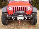Rock Hard 4x4 2007-2014 Jeep JK Wrangler Front Bumper Lowered Winch with Fog Lights Full Width