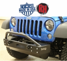 "Rock Hard 4x4 2007-2017 Jeep JK Wrangler Patriot Series Grille Width ""Stubby"" Front Bumper w/Lowered Winch Plate w/o Fog Lights"