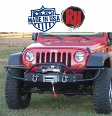 Rock Hard 4x4 2007-2017 Jeep JK Wrangler Patriot Series PreRunner Grille Width Front Bumper w/ Tube Extensions w/ Lowered Winch Plate w/o Fog Lights